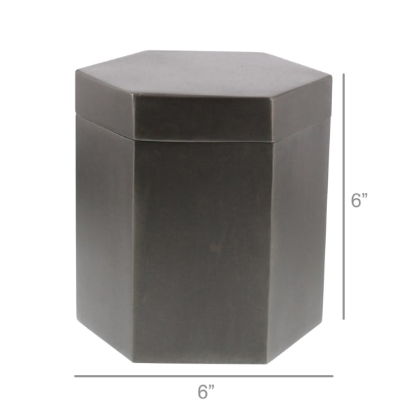 Hexagonal Zinc Antique Canister
