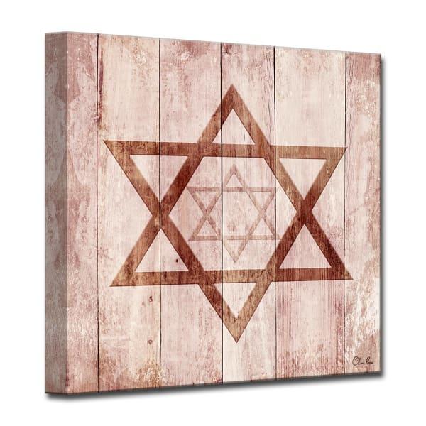Star I Medium Sepia Judaica Wrapped Canvas Wall Art