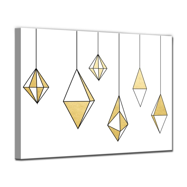 Shining Ornaments Small Gold Christmas Wrapped Canvas Wall Art
