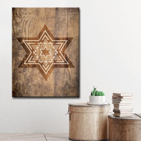 Star IX Small Sepia Wrapped Canvas Wall Art