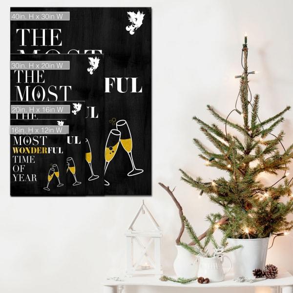 Wonderful Medium Black Christmas Wrapped Canvas Wall Art