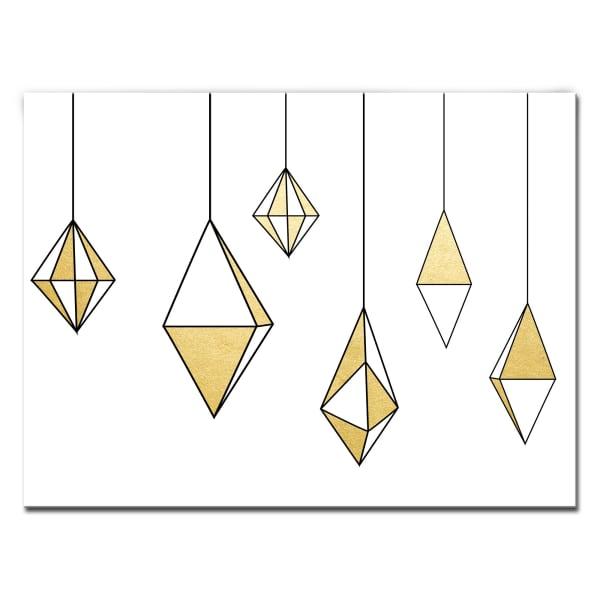 Shining Ornaments Medium Gold Christmas Wrapped Canvas Wall Art