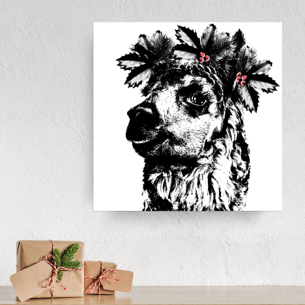 Santa's Alpaca Small Black Christmas Wrapped Canvas Wall Art