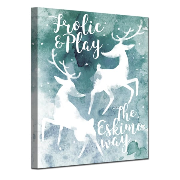 Frolicking Reindeer Small Teal Christmas Wrapped Canvas Wall Art