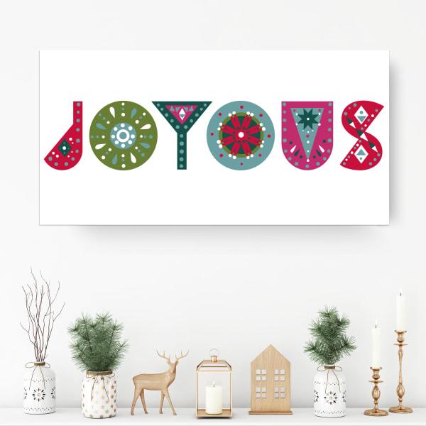 Christmas Joy Medium Multicolored Holiday Wrapped Canvas Wall Art