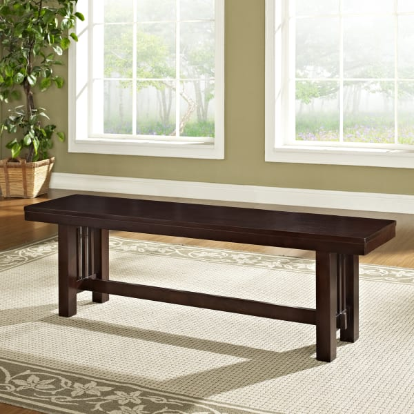 Rustic Mission Style Cappuccino Dining Bench