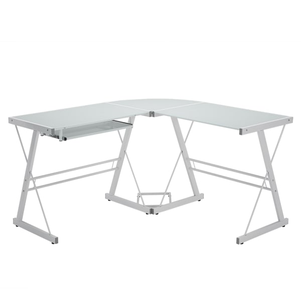 Modern Silver Metal and White Glass L Shaped Angled Leg Computer Desk
