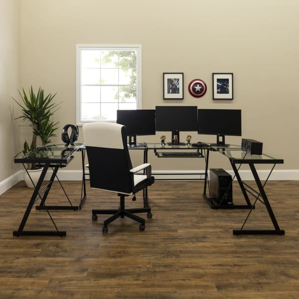 Modern Black Metal Clear Glass L Shaped Angled Leg Computer Desk