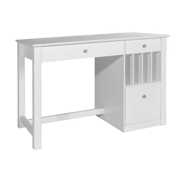 Transitional White 3 Drawer Storage Computer Desk