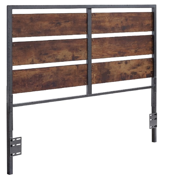 Industrial Farmhouse Brown Wood Plank and Metal Queen Headboard