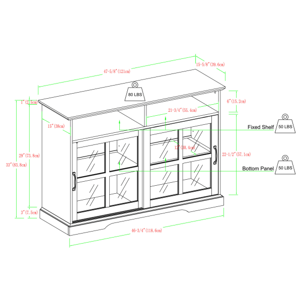 Transitional Brushed White Sliding Window Pane Door Sideboard