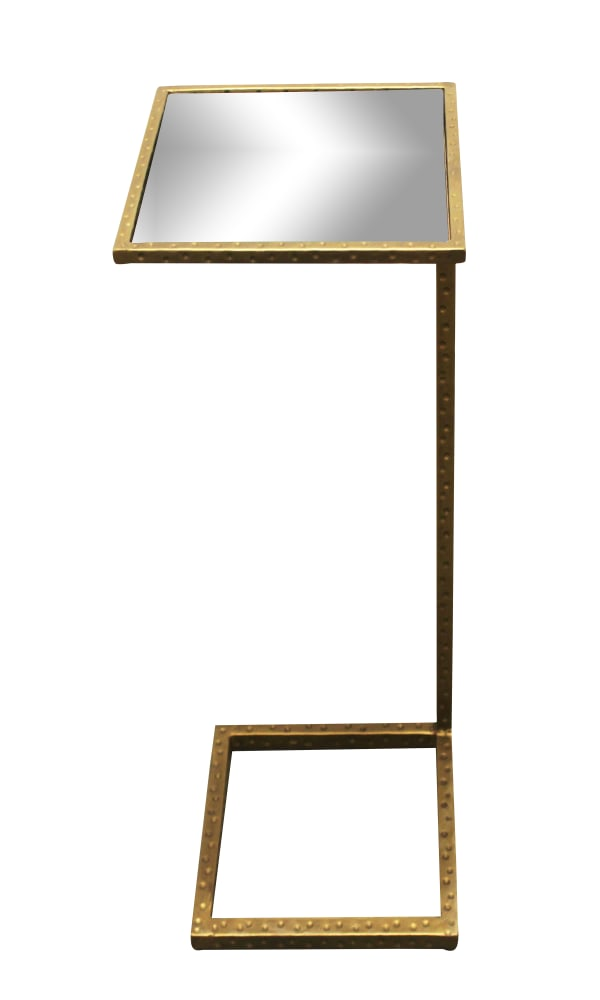 Spencer  Antique Brass Finish Mirror Top Occasional Table
