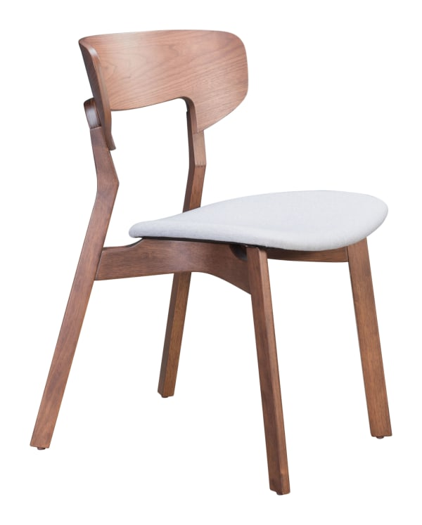 Russell Walnut & Gray Set of 2 Dining Chairs