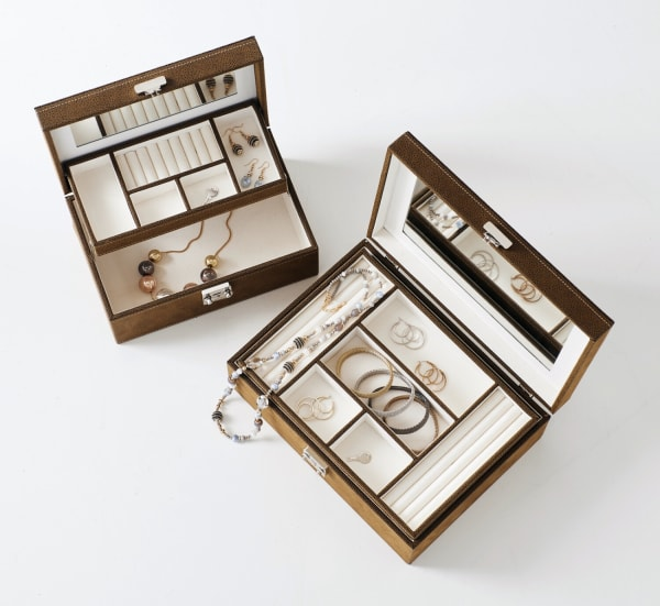 Tan Suede Mirrored Jewelry Box with Removable Tray