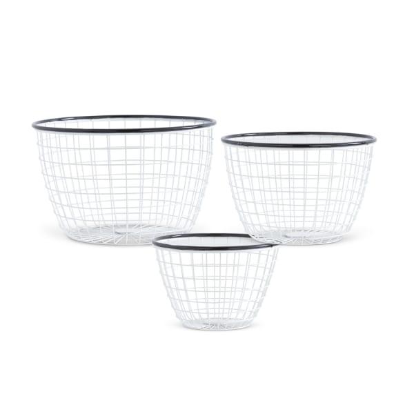 Black and White Enameled Mesh Baskets, Set of 3