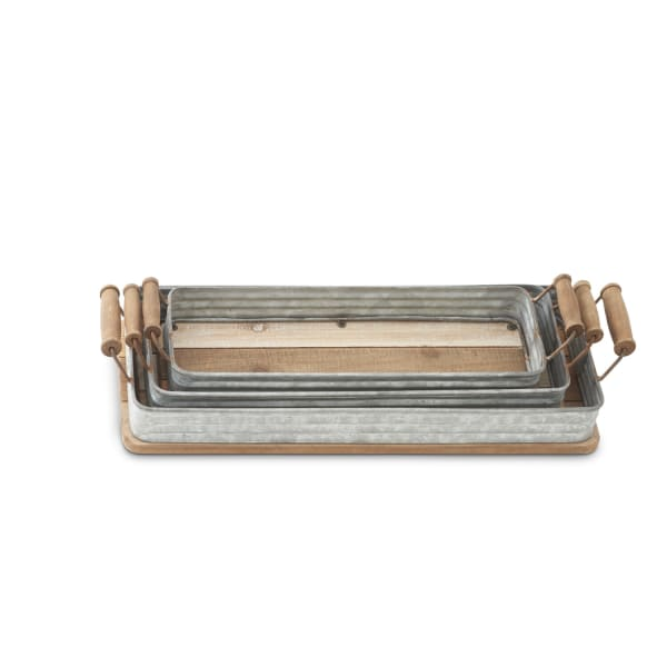 Set of 3 Rustic Tin and Wood Trays