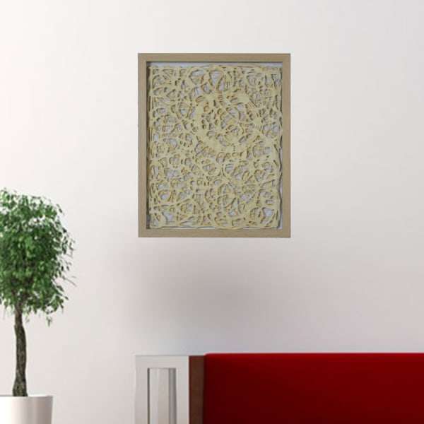 Natural Light Wood and Paper Abstract Design Shadow Box