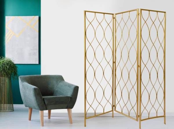 Gold 3 Panel with Golden Age Charm Room Divider