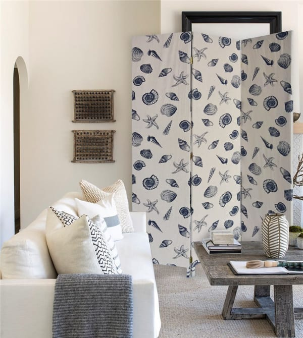 Beige and Blue Soft Fabric Finish 3 Panel Room Divider