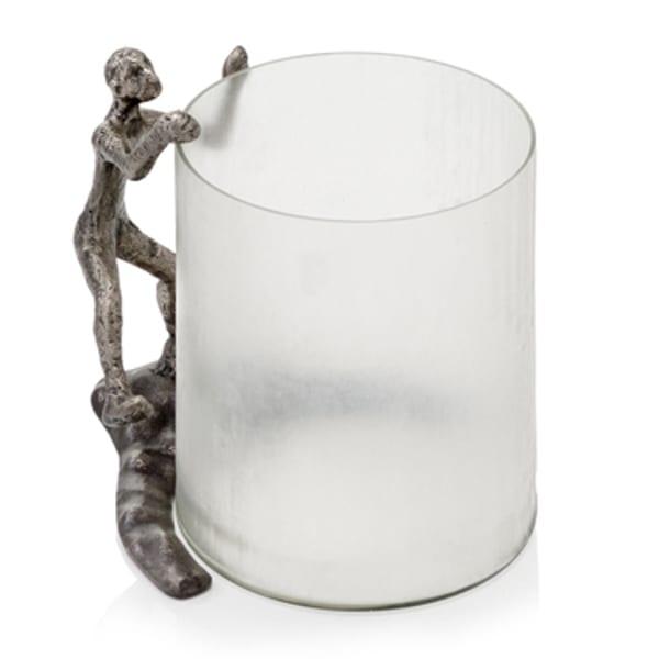 Antique Silver Climber Chiseled Glass Sculpture