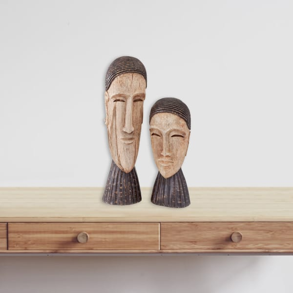 Natural and Brown Royal Couple Sculpture