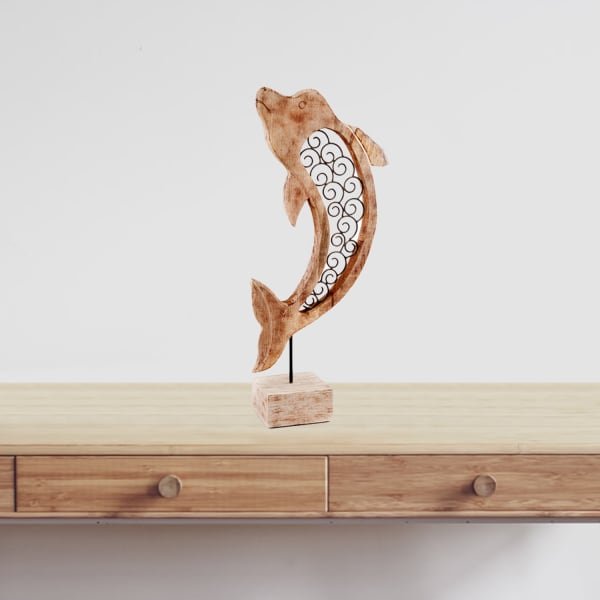 Natural and Black Iron Scroll Wood Dolphin Sculpture