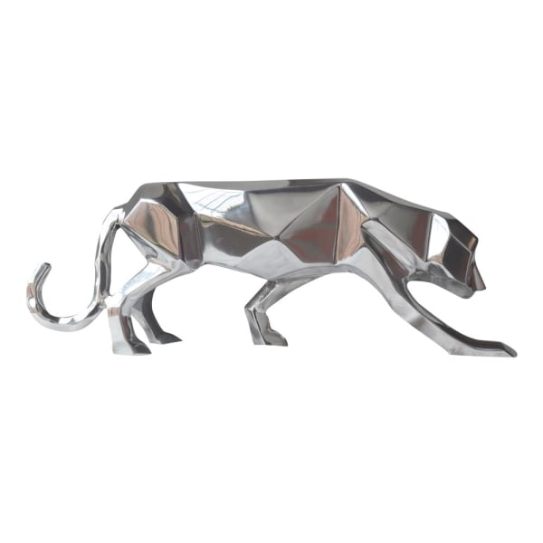 Silver Aluminum Geometric Panther Sculpture