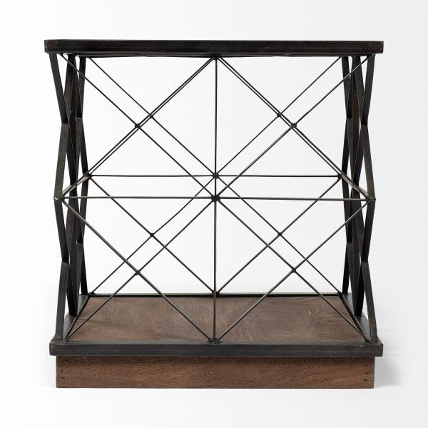 Trestle Frame Square Glass Top Side Table
