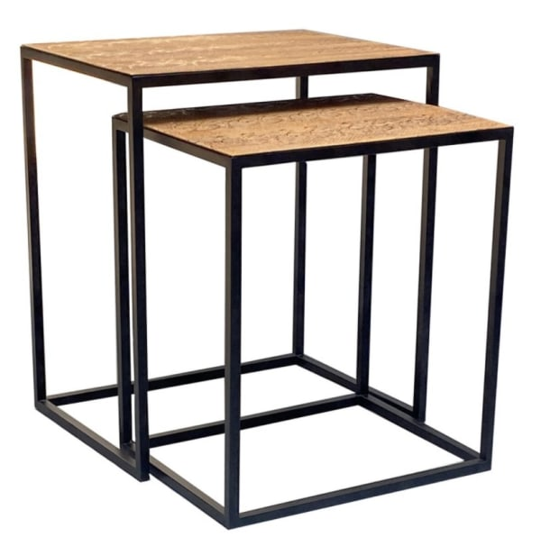 Faux Lion Leather Top Set Of 2 Nesting End Tables