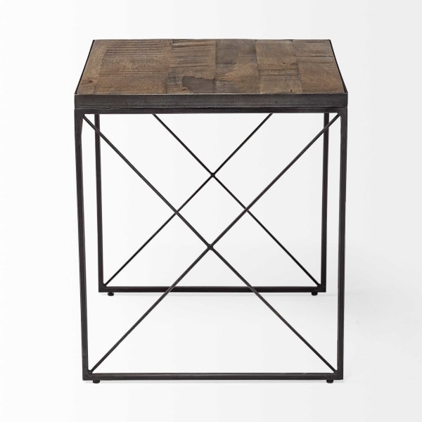 Medium Brown Wood with Iron Cross Braced Square Side Table