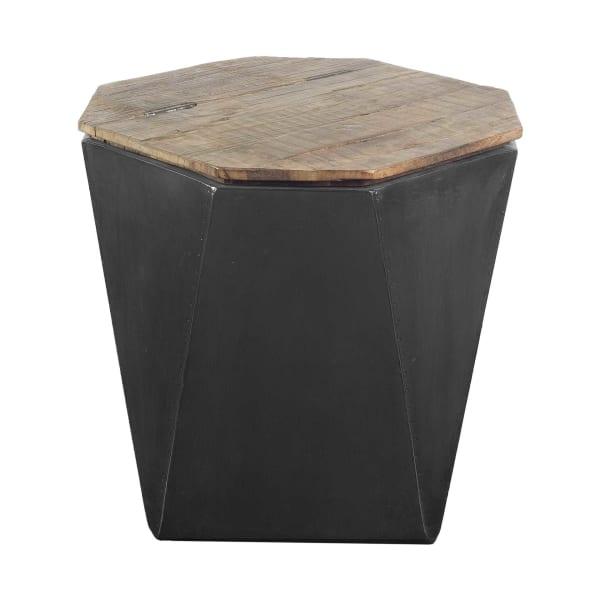 Black Metal and Natural Wood Hinged-Top Side Table