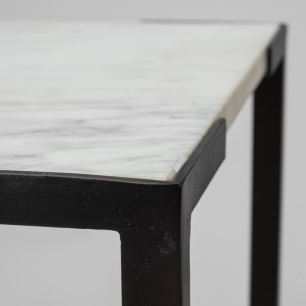 White Marble with Black Iron Frame Square Set of 2 End Tables