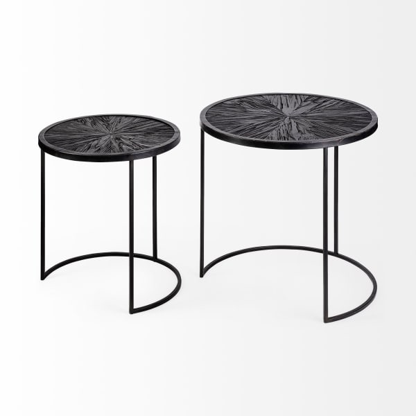 Dark Wood with Black Iron Frame Set of 2 Round End Tables
