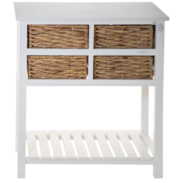 White Wooden with 4 Basket Weave Drawers and Bottom Shelf Console Table