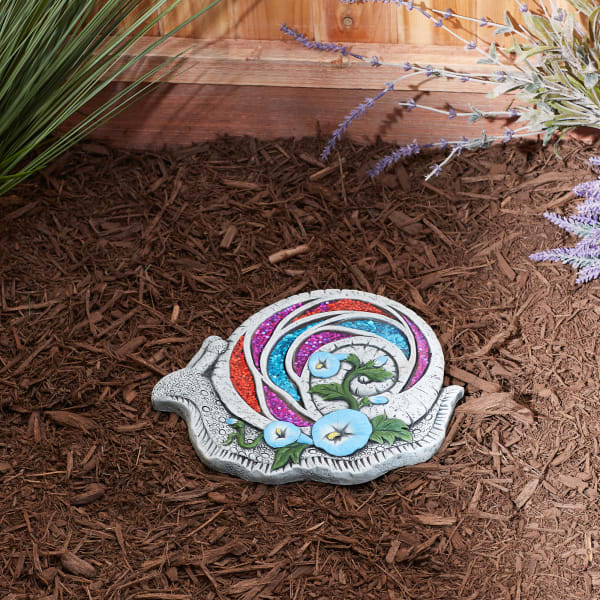 Bejeweled Snail Stepping Stone