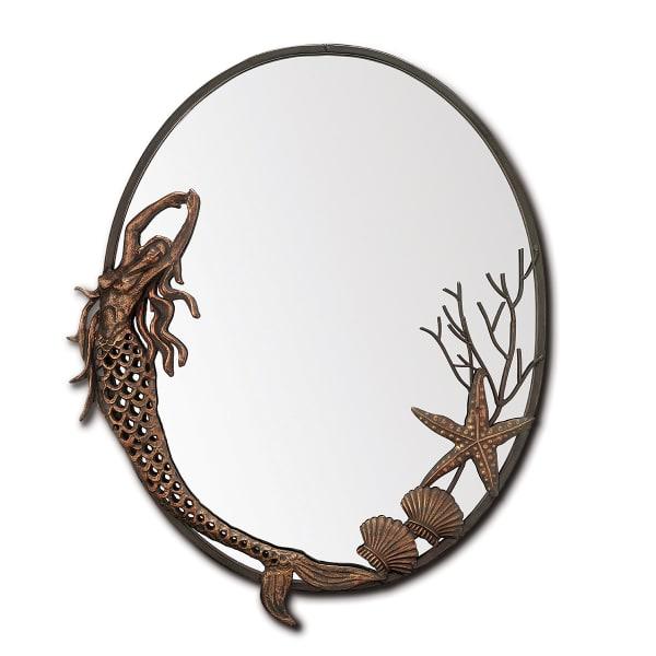 Mermaid Oval Antique Iron Bronze Cast Wall Mirror