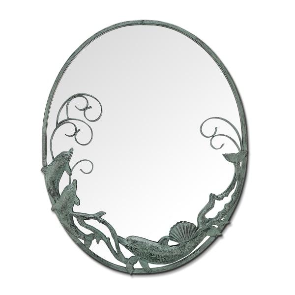 Dolphin Trio Antique Iron Verdigris Cast Wall Mirror