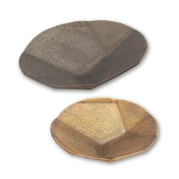 Gray and Brass Finish Aluminum Round Platters