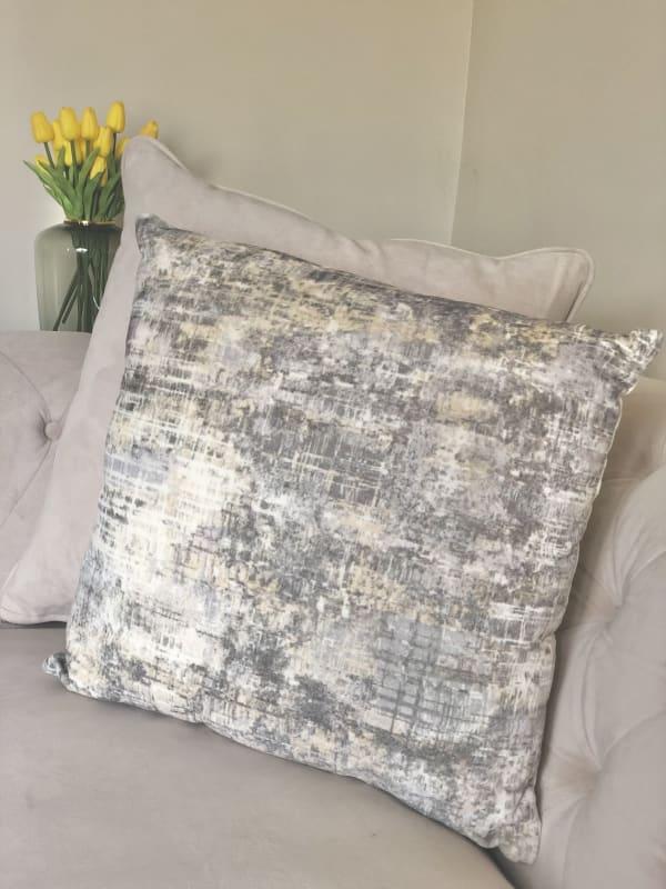 Benson Square Cotton Beige Ivory Decorative Throw Pillow