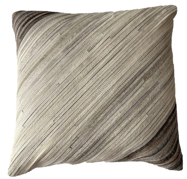 Remi Square Ivory Brown Cowhide Decorative Throw Pillow