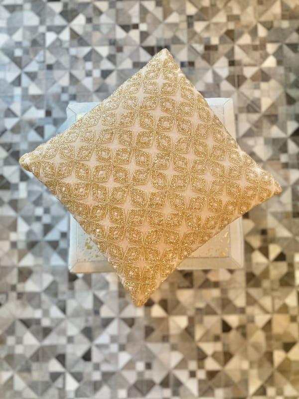 Bari Square Gold Velvet Decorative Throw Pillow