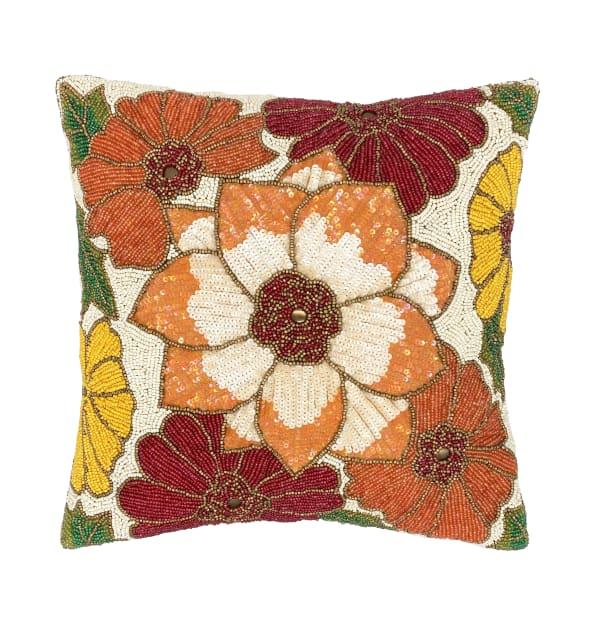 Kaci Square Orange Gold Beads Decorative Throw Pillow