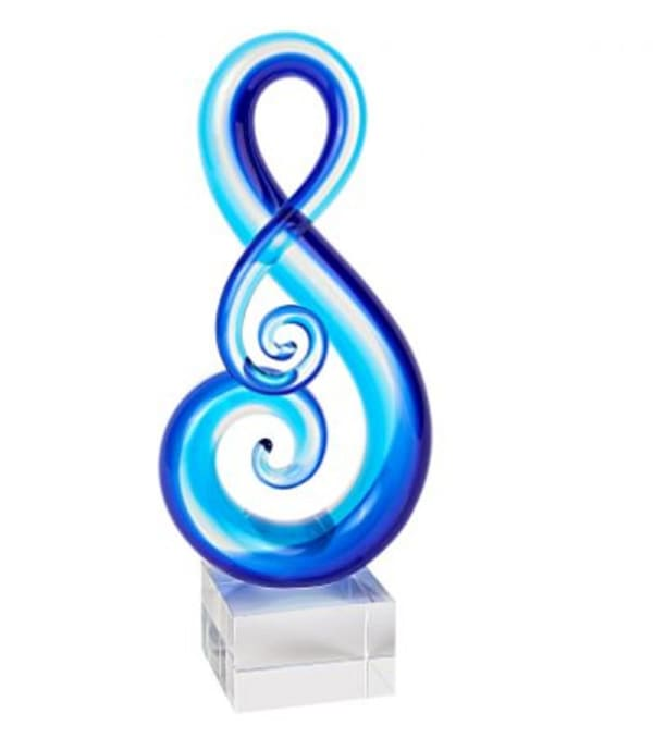 Stylish Light Blue Musical Clef Glass Sculpture