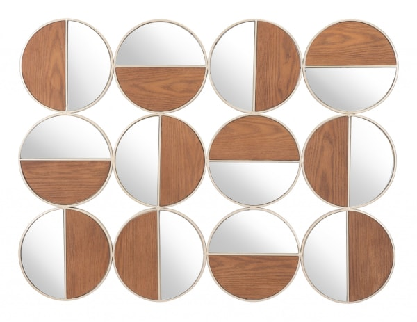 Gold and Walnut Finish Round Adjoined Wall Mirrors