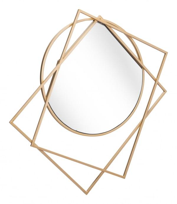 Geometric Overlaps Gold Finish Wall Mirror