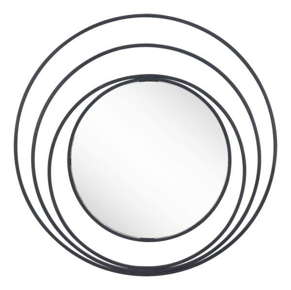 Concentric Circles Black Finish Wall Mirror