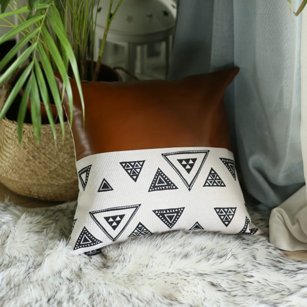 Black and White Triangle and Brown Faux Leather Pillow Cover