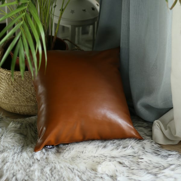 XL Rustic Brown Faux Leather Lumbar Pillow Cover