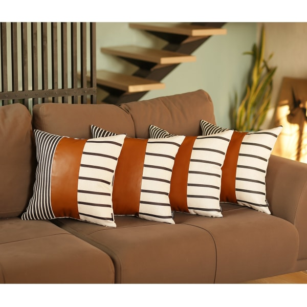 Set of 4 Blue and White Stripes with Faux Leather Pillow Covers