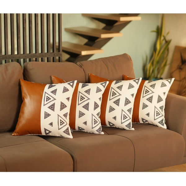 Set of 4 Triangle and Brown Faux Leather Pillow Covers